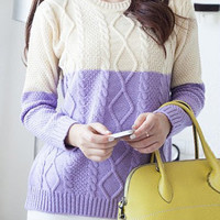Casual Round Neck Long Sleeve Color Block Cable Knit Sweater