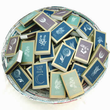100 Golden Botanical Matchboxes - Summer Garden Party - Pretty Wedding Match Favors - Fill with Lavender or Seeds - Light a Lovely Spark