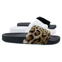 Izzy19 By Forever, Fluffy Furry Faux Fur Single Band Slide, Slipper Sandal w Footbed Folding