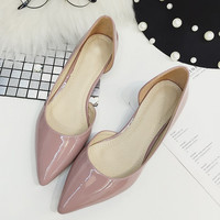 Spring Autumn Sexy Low Heel Shoes Pointed Toe Patent Leather Shallow Slip-On Women's Pumps Shoes Ladies Single Shoes Lady Shoes