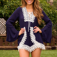 Esther Lace Romper - Navy