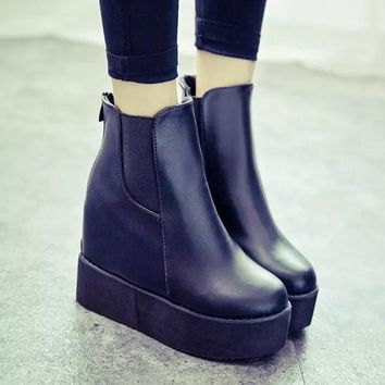 Hot Deal On Sale Waterproof Wedge Winter Shoes Club Sexy Height Increase Platform Boots [9138742279]