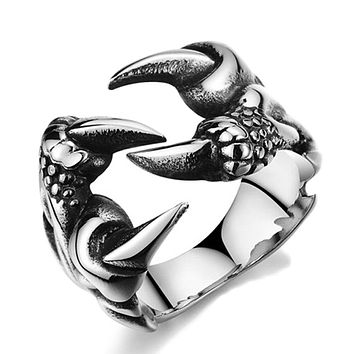 Rock Punk Vintage Gothic Male Biker Stainless Steel Dragon Claw Rings For Men