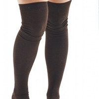 Sexy Legs Thigh High Socks Solid Brown Over The Knee 70% Cotton Womens One Size