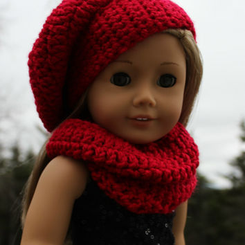 red beret style crochet slouch hat with infinity scarf,  18 inch doll clothes, American girl, Maplelea