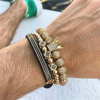 Luxury Jewelry 3pcs/Set Bracelet Hip Hop Gold  Men Jewelry Cubic Micro Pave CZ Charm Bracelets For Women Men Pulseira Bileklik