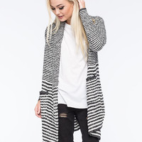 Woven Hearts Border Stripe Womens Duster Cardigan Black/White  In Sizes