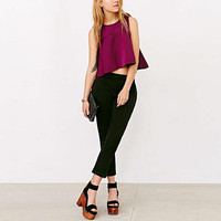 Purple Sleeveless Peplum Zipper-Back Top