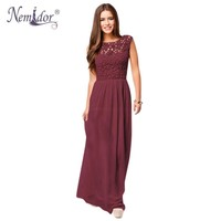 Nemidor  Women Sleeveless Crochet Chiffon Sexy Casual Lace Long Dress Plus Size Summer Long Lace Maxi Dress