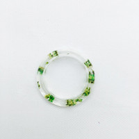 green real plant ring green resin ring Jewelry nature green real guelder-rose petal ring with clear eco resin beach gift for kawaii girls