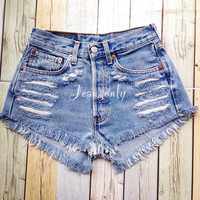 High waisted shorts cheap Levi denim 90's Grunge Hipster Indie summer clothes fashion by Jeansonly