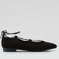 AEO Lace-Up Ballet Flats, Black