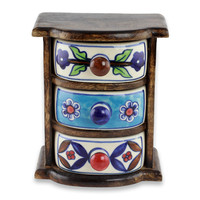 Wood and ceramic mini chest of drawers, 'Rustic India'