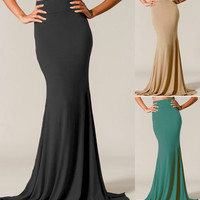 HUGE FLARE HIGH WAISTED LONG FULL LENGTH MERMAID MAXI SKIRT STRETCH JERSEY KNIT
