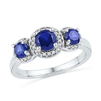 10kt White Gold Women's Round Lab-Created Blue Sapphire 3-stone Diamond Ring 1-3/8 Cttw - FREE Shipping (US/CAN)