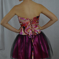 Short prom fun multi color swirl dress