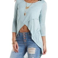 Sweater Knit Extreme High-Low Tee by Charlotte Russe