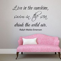 Wall Decals Vinyl Decal Sticker Wording Quote Live in the Sunshine Swim in the Sea Drink the Wild Air Bedroom Decor Living Room Beauty Salon Home Interior Design Kg871