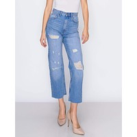 WOMEN'S MARIA MOM STRAIGHT WITH RIPS JEANS