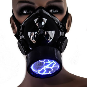 Blue Plasma Light Cosplay Respirator Gas Mask Sound Activated