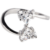 Sterling Silver 925 Cubic Zirconia SOLITAIRE HEART Toe Ring | Body Candy Body Jewelry