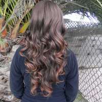 20% OFF SALE Brown Ombre / Long Curly Layered Wig