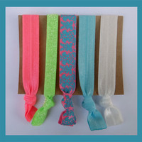 5 Elastic HAIR TIES Aqua and Pink Damask, Neon Green Glitter, Flamingo Set, Variety Pack No Tug, No Dent, Yoga