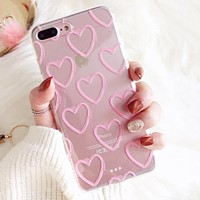 LOVECOM Phone Case For iPhone Xs Max XR XS 5 5S SE 6 6S 7 8 Plus X Ultra-thin Pink Love Heart Soft TPU Clear Phone Back Cover