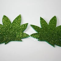 Marijuana leaf pasties glitter