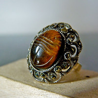 Vintage Silver Ornate Marcasite Ring with by FourSailAccessories
