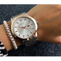 GUCCI tide brand men and women casual fashion watches F-Fushida-8899 Silver + Rose Gold -Rose Gold- watchcase