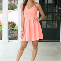 Captivated Dress - Neon Coral