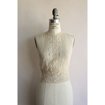 Vintage 1920s Sheer Mesh and Lace Blouse