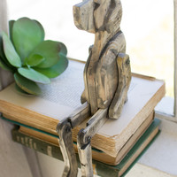 Recycled Wooden Dog with Movable Joints