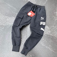 Puma Fashion New Embroidery Letter Print Sports Leisure Women Men Pants Dark Gray