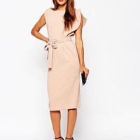 ASOS PETITE Belted Dress with Split Cap Sleeve and Pencil Skirt