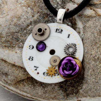 Steampunk Antique enamel watch face pendant with vintage cogs, rose cabochon and Swarovski crystal- Valentines Steampunk jewelry gift