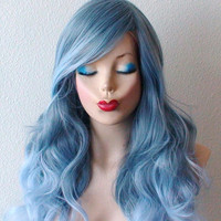 Reserved listing for Megumi B// Pastel silver blue wig. Grayish Blue / Baby Blue Ombr durable daily / cosplay wig