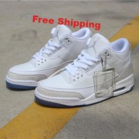 [ Free  Shipping ]Nike Air Jordan Retro III 3 Triple White Pure Money Ice Clear Sole 136064-111 Running  Sneaker