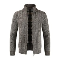 Thickened Cotton Solid Color Men Long Sleeves Warm Standing Collar Knitted Jacket