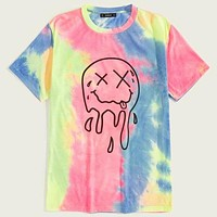 Fashion Casual Men Outline Graphic Tie Dye Top