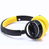 B380 Bluetooth V3.0+EDR Wireless Headset, Insert-card FM Function HiFi Sound Headphone, Stereo Voice Universal Portable Earphone with Rechargeable Battery (Yellow)