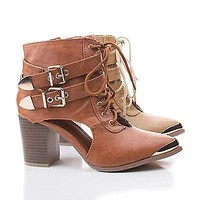 Darleen04 By Bumper, Metallic Pointy Toe Lace Up Cut Out Ankle Chunky Heel Booties