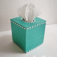 GLITTER & BLING Tissue Box Covers in Sparkling Fine Glitter - Turquoise/Teal or a Variety of Colors - With or Without Bling