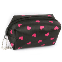 Heart Print Coin Pouch Black & Pink