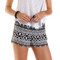 Black/White Aztec Print High-Waisted Shorts by Charlotte Russe