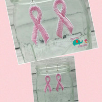 Pink ribbon free standing lace embroidered earrings, awareness ribbon, awareness, cancer, breast cancer, support, earring, jewelry