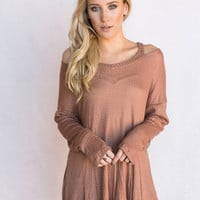 Strappy Open Shoulder Tunic In Mocha