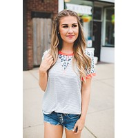 Macy Spots and Stripes Raglan Tee (Mint)