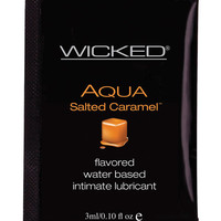 Wicked Sensual Care Collection Aqua Waterbased Lubricant - 3 Ml Packet Salted Caramel